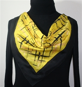 Yellow, Black Hand Painted Silk Bandanna Scarf GOLDEN SERENITY-2. Size 22x22 square. Silk Scarves Colorado. Elegant Silk Gift.