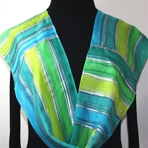 Green, Teal, Lime Hand Painted Silk Scarf IRISH MORNING. Size 8x54. Silk Scarves Colorado. Elegant Silk Gift
