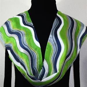 Lime, Grey, Navy Blue Hand Painted Silk Scarf LIME MOJITO. Size 8x54. Silk Scarves Colorado. Elegant Silk Gift