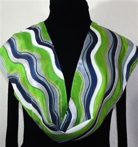 "Lime, Grey, Navy Blue Hand Painted Silk Scarf LIME MOJITO. Size 11x60"". Silk Scarves Colorado. Elegant Silk Gift"