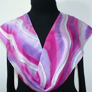 Pink, Berry, Violet Hand Painted Silk Scarf Raspberry Sundae. Size 8x54. Silk Scarves Colorado. Elegant Silk Gift