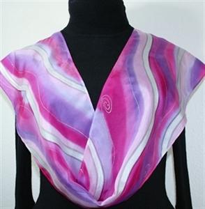 Pink, Berry, Violet Hand Painted Silk Scarf Raspberry Sundae. Size 8x54. Silk Scarves Colorado. Elegant Silk Gift