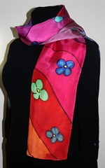 Multi-colored Silk Scarf with Flowers