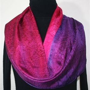 Pink, Purple, Berry Hand Painted Silk Scarf Autumn Dusk. Size 8x54. Silk Scarves Colorado. Bridesmaid Gift.