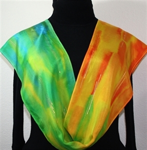 """Orange, Lime, Turquoise Hand Painted Silk Scarf Spring Kiss. Size 11x60"""". Silk Scarves Colorado. Bridesmaid Gift."""