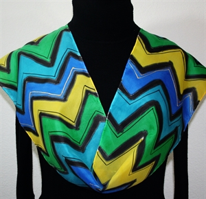 Teal, Blue, Yellow Hand Painted Silk Scarf Summer Chevron. Size 8x54. Silk Scarves Colorado. Bridesmaid Gift.