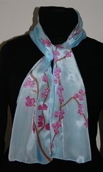 Light Blue Silk Scarf with Japanese Landscape with Cherry Blossoms