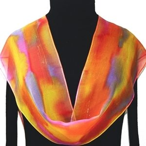 Coral, Pink, Yellow Hand Painted Silk Scarf Pastel Dreams. Size 8x54. Silk Scarves Colorado. Elegant Silk Scarf.