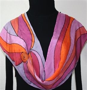 Lavender, Purple, Orange Hand Painted Silk Scarf Winter Rainbow. Size 8x54. Silk Scarves Colorado. Elegant Silk Scarf.