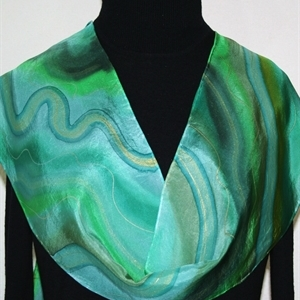 Green, Emerald Hand Painted Silk Scarf Morning Waves. Size 8x54. Silk Scarves Colorado. Elegant Silk Scarf.