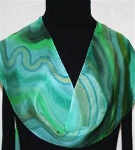 Green, Emerald Hand Painted Silk Scarf Morning Waves. Size 8x54. Silk Scarves Colorado. Elegant Silk Scarf.