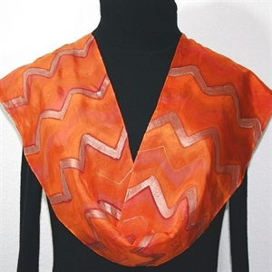 Orange, Coral Hand Painted Silk Scarf Orange Chevron. Size 8x54. Silk Scarves Colorado. Elegant Silk Scarf.