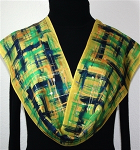 Yellow, Navy Blue, Green Hand Painted Silk Scarf City Spring. Size 8x54. Silk Scarves Colorado. Elegant Silk Scarf.