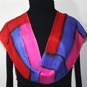 Red, Pink, Periwinkle Hand Painted Silk Scarf Jewel Stones. Size 8x54. Silk Scarves Colorado. Elegant Silk Scarf.