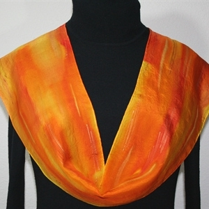 Orange, Golden Yellow Hand Painted Silk Scarf Burning Sun. Size 8x54. Silk Scarves Colorado. Elegant Silk Scarf.