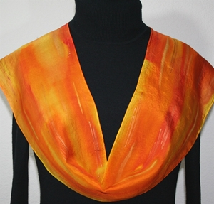Orange, Golden Yellow Hand Painted Silk Scarf Burning Sun. Size 8x54. Silk Scarves Colorado. Elegant Silk Scarf.