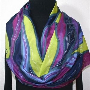 Blue, Burgundy, Periwinkle, Lime Hand Painted Silk Scarf Purple Tornado. Size Medium 11x60. Silk Scarves Colorado. Elegant Silk Scarf.