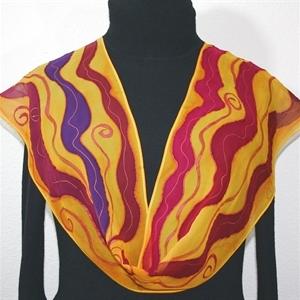 Orange, Berry, Purple Hand Painted Silk Scarf Morning Sun. Size 8x54. Silk Scarves Colorado. Elegant Silk Scarf.