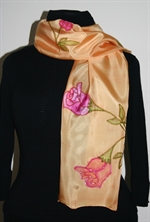 Golden Silk Scarf with Roses