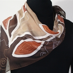 Beige, Brown Hand Painted Chiffon Silk Shawl African Coffee. Extra-Large Square 35x35. Silk Scarves Colorado. Elegant Silk Scarf.