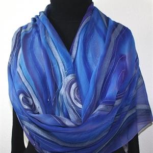 Blue, Purple Hand Painted Chiffon Silk Shawl Passion Storms-2. Luxurious Big Silk Wrap 22x90. Silk Scarves Colorado. Elegant Silk Scarf.