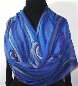 Blue, Purple Hand Painted Chiffon Silk Shawl Passion Storms-2. Luxurious Big Silk Wrap 22x90. Silk Scarves Colorado. Elegant Silk Scarf.