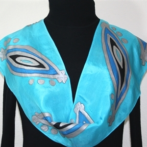 Turquoise, Silver, Black Hand Painted Silk Scarf Turquoise Moons. Size 8x54. Silk Scarves Colorado. Elegant Silk Scarf.