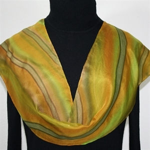 Olive, Terracotta, Lime Hand Painted Silk Scarf Olive Valley. Size 8x54. Silk Scarves Colorado. Birthday Gift. Gift Wrapped.