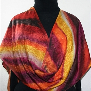 Terracotta, Brown, Burgundy Hand Painted Silk Scarf Afternoon Forest. Size 8x54. Silk Scarves Colorado. Birthday Gift. Gift Wrapped.