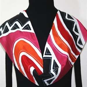 Black, White, Red Hand Painted Silk Scarf African Dream. Size Medium 11x60. Silk Scarves Colorado. Birthday Gift. Gift Wrapped.