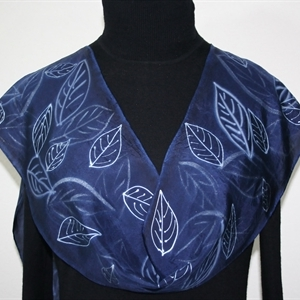 Navy Blue, White, Silver Hand Painted Silk Scarf Night Forest. Size 8x54. Silk Scarves Colorado. Birthday Gift. Gift Wrapped.
