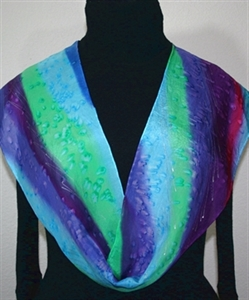 Green, Teal, Purple Hand Painted Silk Scarf Lavender Valley. Size 8x54. Silk Scarves Colorado. Birthday Gift. Gift Wrapped.