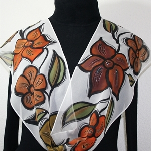Brown, White Hand Painted Silk Scarf Autumn Flowers. Size 8x54. Silk Scarves Colorado. Birthday Gift. Gift Wrapped.