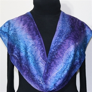 "Purple, Lavender, Blue Hand Painted Silk Scarf Purple Snow. Size 14x72"". Silk Scarves Colorado. Birthday Gift. Gift Wrapped."