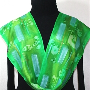 Green, Lime Hand Painted Silk Scarf October Rain. Size 8x54. Silk Scarves Colorado. Birthday Gift. Gift Wrapped.