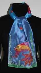 Blue Silk Scarf with Two Fish and Shells - photo 2