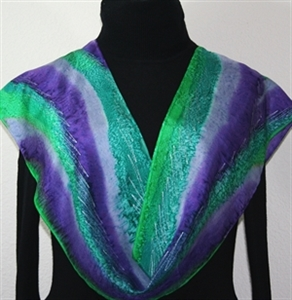 Green, Teal, Purple Hand Painted Silk Scarf Grape Country. Size 8x54. Silk Scarves Colorado. Birthday Gift. Gift Wrapped.
