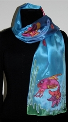 Blue Silk Scarf with Two Fish and Shells - photo 3