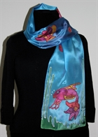 Blue Silk Scarf with Two Fish and Shells