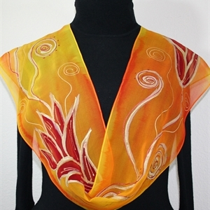 "Orange, Yellow Hand Painted Chiffon Silk Scarf Fire Flowers. Size 14x72"". Silk Scarves Colorado. Birthday Gift. Gift Wrapped."
