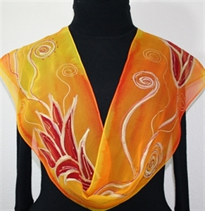 Orange, Yellow Hand Painted Chiffon Silk Scarf Fire Flowers. Size 8x54. Silk Scarves Colorado. Birthday Gift. Gift Wrapped.