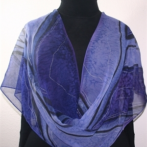 "Purple, Lavender Hand Painted Chiffon Silk Scarf Lavender Fields. Size Medium 14x72"". Silk Scarves Colorado. Birthday Gift. Gift Wrapped."