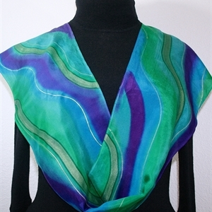 Teal, Turquoise, Purple Hand Painted Silk Scarf Dreamy Horizons. Size Medium 11x60. Silk Scarves Colorado. Birthday Gift. Gift Wrapped.