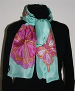 Turquoise Silk Scarf with Flowers and Butterfly
