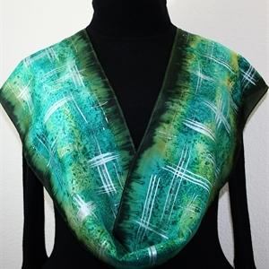Green, Dark Pine, Teal Hand Painted Silk Scarf Green Field. Size 8x54. Silk Scarves Colorado. Elegant Handmade Silk Scarf. Birthday Gift