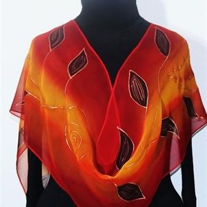 Orange, Terracotta, Red Hand Painted Silk Scarf INDIAN SUNSET. Size LARGE 14x72. Silk Scarves Colorado. Elegant Handmade Silk Scarf. Birthday Gift