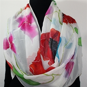 "White, Red, Pink Hand Painted Silk Shawl WEDDING MORNING. Luxurious Big 22x90"" Chiffon Silk Scarf."