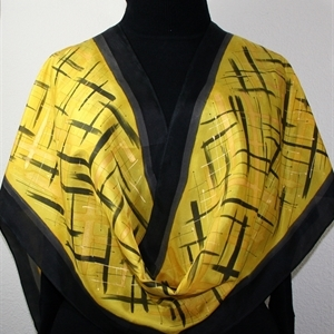 Black Yellow Silk Scarf GOLDEN SERENITY-3. Birthday Gift Scarf. Large 30x30. Hand Dyed Scarf. Silk Scarves Colorado.