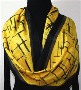 Black Yellow Hand Painted Silk Scarf GOLDEN SERENITY-1. Size 14x72. Silk Scarves Colorado. Birthday Gift, Bridesmaid Gift, Anniversary Gift, Mother Gi