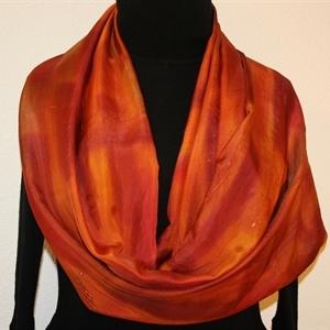 Orange, Terracotta Hand Painted Silk Shawl, Handmade Scarf BRONZE MIST. Large 14x72. Silk Scarves Colorado. Birthday Gift, Bridesmaid Gift